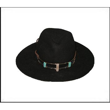 Black Crystal Hat Wide Brim Fedora Plus American Eagle Crystal Crown With Turquoise Wear It Two Ways!