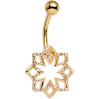 Clear Gem Gold Tone Simply Snowflake Belly Ring