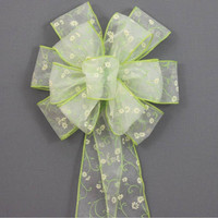 Spring Green Daisy Easter Wreath Basket Bow