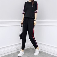 """Adidas"" Women Retro Casual Ethnic Multicolor Stripe Short Sleeve Trousers Set Two-Piece Sportswear"
