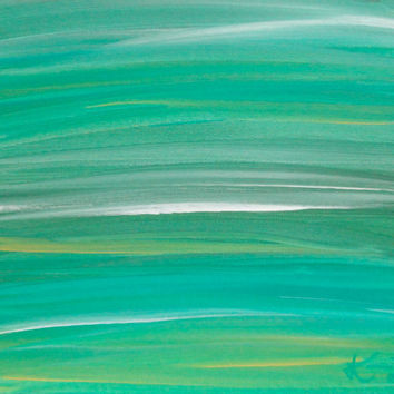 Green Turquoise Abstract Acrylic Painting Original Artwork 11x14 canvas