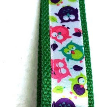 Green, Colorful Tossed Owls Key Fob, Key Ring, Wristlet, Key Chain