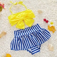 Childrens Swimsuit Cute Voobuyla Cute Striped Child Bikini  Swimwear High Waisted Bathing Suit For Kids Baby Girls Children Bow Knot Biquini KO_25_2