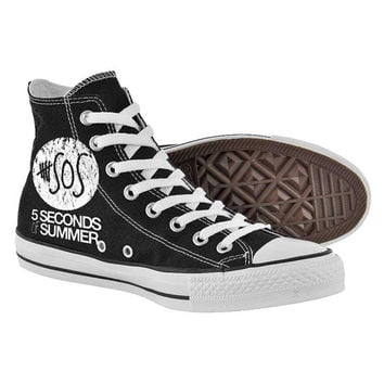 5sos logo,High Top,canvas shoes,Painted Shoes,Special Christmas Gift,Birthday gift,Men Shoes,Women Shoes