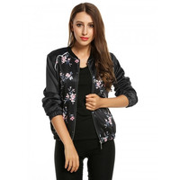 Long Sleeve Stand Collar Zip Up Floral Print Casual Bomber Jacket
