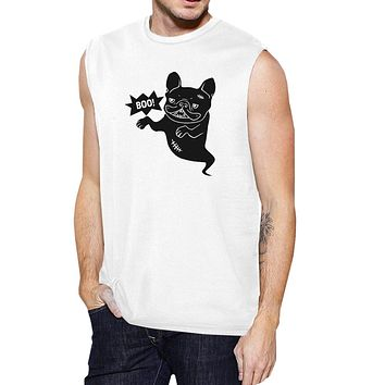 Boo French Bulldog Ghost Mens White Muscle Top