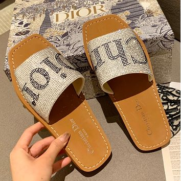 Diors spring and summer embroidered letter diamond slippers