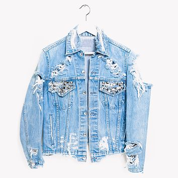 Vintage One a Kind Muse Studded Jean Denim Jacket