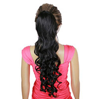 70cm Chic  Long Curled Hair Cap Wave Curl Elastic Button Ponytail Wig