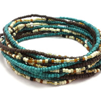 Seed bead wrap stretch bracelets, stacking, beaded, boho anklet, bohemian, stretchy stackable multi strand, dark teal brown white gold ivory