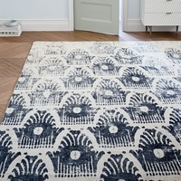 Distressed Floating Ikat Wool Rug - Black
