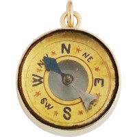 Victorian Miniature Thermometer Compass Fob / Superb Rare 9ct Gold Compass Pendant Charm