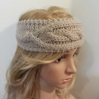 SALE - Headband, Knitted Headband, Women's Accessories,Christmas Gift in Charcoal & Oatmeal - WIC800H