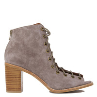 Jeffrey Campbell Cors Lace Up Taupe Suede Heeled Booties