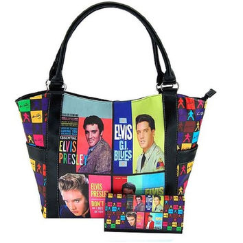 Set of Colorful Licensed Elvis Presley Tote Bag & Wallet