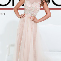 Beaded Lace Sleeveless Gown by Tony Bowls