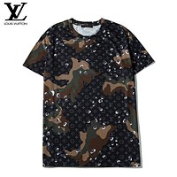 LV Summer New Fashion Monogram Print Camouflage Women Men Top T-Shirt