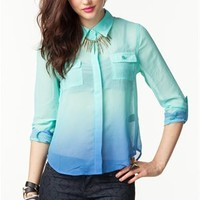 A'GACI Multi Color Ombre Roll Sleeve Shirt - TOPS