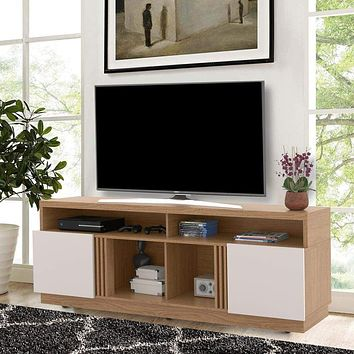 "71"" Wooden TV Stand with 4 Open Shelves, White and Brown By The Urban Port"