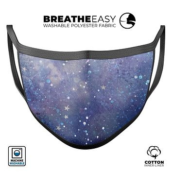 Abstract Blue Grungy Stars - Made in USA Mouth Cover Unisex Anti-Dust Cotton Blend Reusable & Washable Face Mask with Adjustable Sizing for Adult or Child