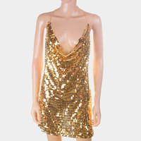sequin cami halter dress body chain