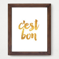 C'est Bon, Chic Golden Wall Art, Gold, Watercolor Art Print, French, Room Decor, Office Print, Funky, Positive Vibes, Great Gift Card Idea