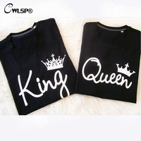 King Queen T Shirt Imperial Crown Printing Couple Clothes lovers Tee Shirt Femme Summer T-shirt 2016 Casual O-neck Tops QA1155