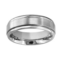 Titanium Raised Center Wedding Band - Men (Grey)