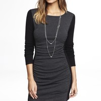 COLOR BLOCK RUCHED SWEATER DRESS