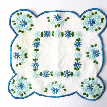Two Embroidered Vintage Linen - Blue Flowers In White Cloth - Doily