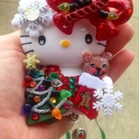 Hello Kitty and Teddy Christmas Time ID Badge Reel Holder Lanyard