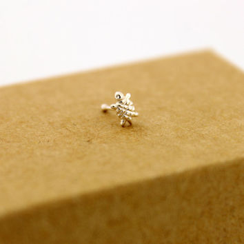 Sterling Silver nose ring Turtle design silver nose stud ball end (N-25)
