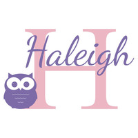 Personalized Vinyl Owl Wall Decal - Cute Owl with Initial & Name Wall Decal for Baby Nursery Boy or Girl Room Wall Art 22H x 36W CN006