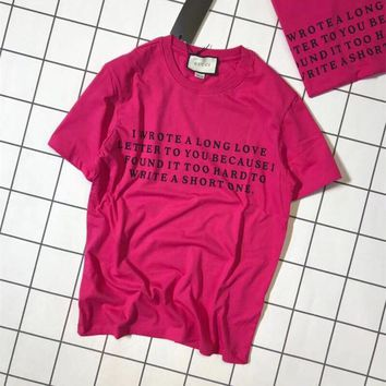"""""""Gucci"""" Women Loose Casual Fashion Letter Print Short Sleeve Rose Red T-shirt Top Tee"""