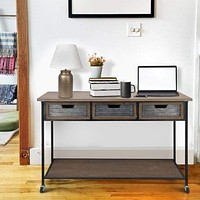 Caster Supported 3 Drawer Wood and Metal Console Table, Brown and Black