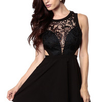 Black Sleeveless Crochet Cut-Out Skater Dress