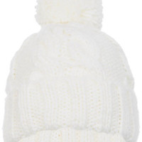 White Turn Up Cable Beanie