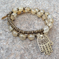 Creativity, genuine yellow quartz crystal 27 bead mala wrap bracelet™ with hamsa hand