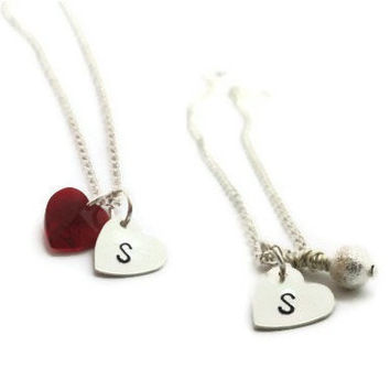 Heart Initial Necklace, Charm Necklace, Personalized Bridesmaids Gifts, Flower Girl Jewelry, Bridal Party Gifts