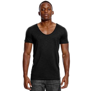 Scoop Neck T Shirt for Men Low Cut Deep V Neck Wide Vee Tee