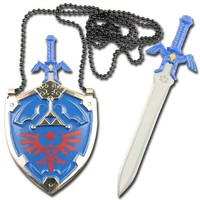Legend of Zelda Hylian Shield Links Master Sword Necklace