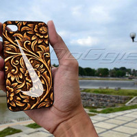 Carved Wood  nike - iPhone 4 / iPhone 4S / iPhone 5 Case Cover/ Samsung s2, samsung s3,samsung s4 cover case
