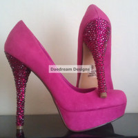 Hot Pink Bling Pumps by DaedreamDesigns on Etsy