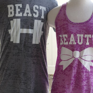 Free/Fast Shipping for US Beauty And The Beast Burn Out Tee and Tank.Gray and Light Purple(White  Decal)