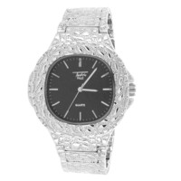 Men's Chrome Tone Black Square Face Nugget Style Band Watch