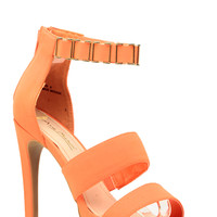 Neon Orange Faux Nubuck Gold Cuff Ankle Strap Heels