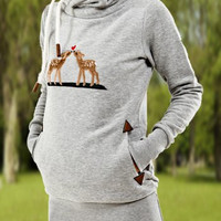 Solid Color Deer Embroidered Drawstring Hoodie