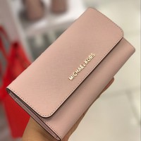 MICHAEL KORS JET SET TRAVEL SAFFIANO LEATHER LARGE TRIFOLD WALLET IN BLOSSOM NWT