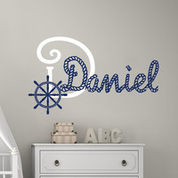 Wall Decals For Boys Name Monogram Vinyl Decal Sail Wheel Sticker Kids Nautical Nursery Bedroom Decor T34