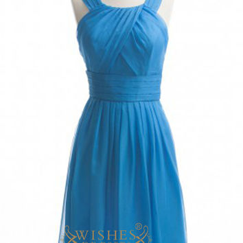 A-line Teal Chiffon Knee Length Bridesmaid Dresses AM380